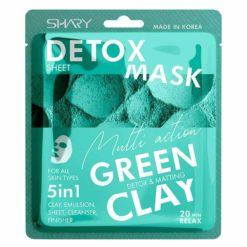 SHARY სახის გამწმენდი ქსოვილის ნიღაბი-ემულსია 5-1-ში GREEN CLAY DETOX AND MATTING